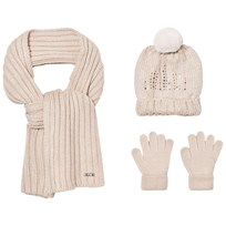 Mayoral Cream Knitted Pom Pom Hat, Scarf and Mittens Set 65