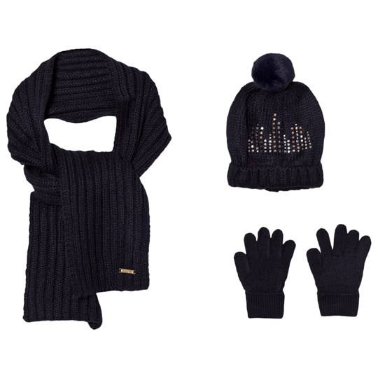 Mayoral Navy Knitted Pom Pom Hat, Scarf and Mittens Set 66