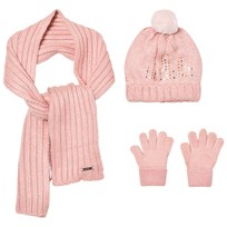 Mayoral Pink Knitted Pom Pom Hat, Scarf and Mittens Set 64