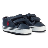 Ralph Lauren Navy Leather Logo Slater EZ Velcro Crib Shoes Navy Tumbled w/ Red PP