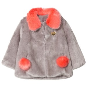 Image of Bandit`s Girl Grey/Coral Faux Fur Coat with Pom Pom Pockets 10-11 years (2811855941)