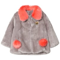 Bandit's Girl Grey/Coral Faux Fur Coat with Pom Pom Pockets GREY MIX