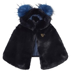 Bandit`s Girl Navy Faux Fur Cape with Pom Pom Hood