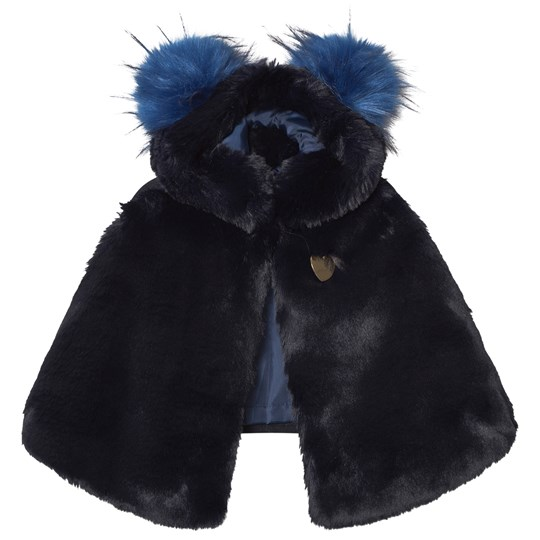 Bandit`s Girl Navy Faux Fur Cape with Pom Pom Hood Navy