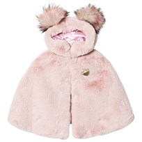 Bandit's Girl Pink Faux Fur Cape with Pom Pom Hood Pink