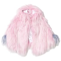 Bandit's Girl Pink Shaggy Faux Fur Pink Cape with Pom Pom Pink