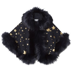 Image of Bandit`s Girl Navy Star Print Faux Fur Cape L (8-9 years) (2743772319)