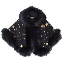 Bandit's Girl Navy Star Print Faux Fur Cape Navy