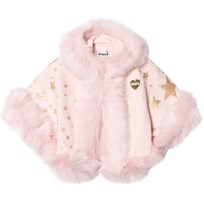 Bandit's Girl Pink Star Print Faux Fur Hooded Cape Pink