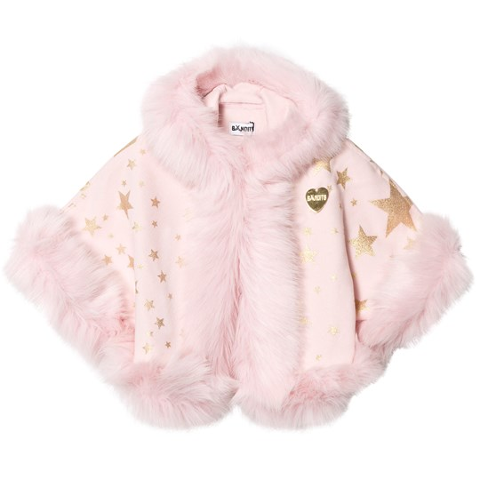 Bandit`s Girl Pink Star Print Faux Fur Hooded Cape Pink