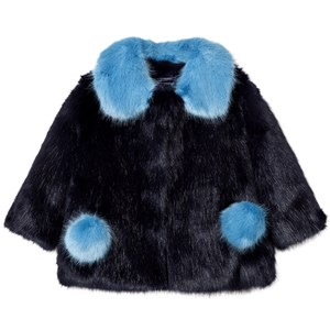 Image of Bandit's Girl Navy/Blue Faux Fur Coat with Pom Pom Pockets 6-7 years (2743770341)