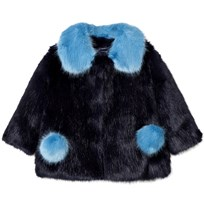 Bandit's Girl Navy/Blue Faux Fur Coat with Pom Pom Pockets Blue Mix