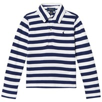 Ralph Lauren White/Navy Long Sleeve Polo Shirt 001