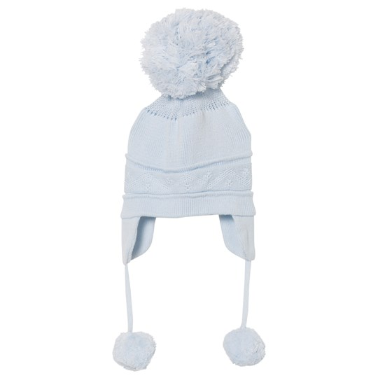 Emile et Rose Griffin Blue Bobble Hat with Ear Flaps Pale Blue