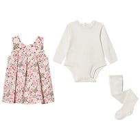 Emile et Rose Multi Floral Dress, Tee and Tights Set Pink