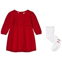 Emile et Rose Red Knit Dress with Tights Red