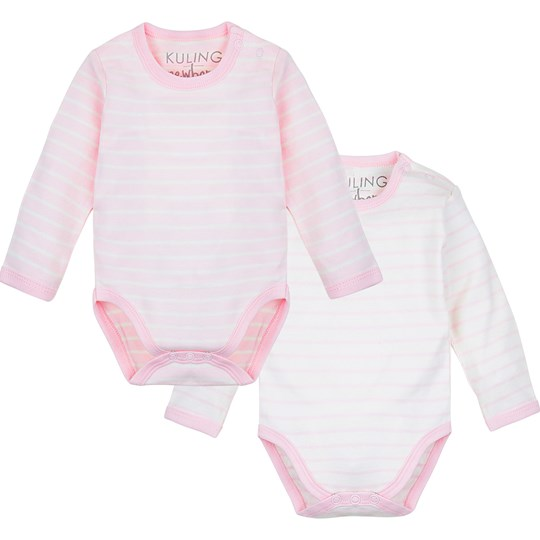 Kuling Kuling Newborn, Body, 2-pack, Organic Cotton, Stripe Rose Pink