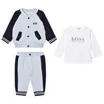 BOSS Navy/Pale Blue Waffle Jacket, Trackpants and Tee Set 771