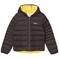 BOSS Dark Grey/Lime Hooded Padded Jacket 62