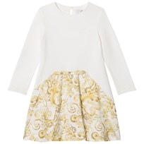 Young Versace Ivory/Gold Baroque Icon Print Jersey Dress 3165