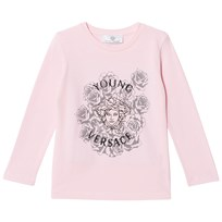 Young Versace Pink Medusa and Rose Studded Long Sleeve Tee 3096