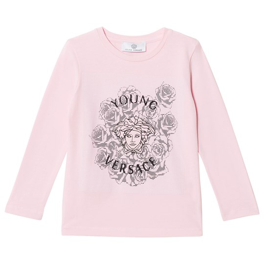 Versace Pink Medusa and Rose Studded Long Sleeve Tee 3096