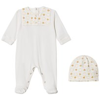 Young Versace White/Gold Footed Baby Body and Beanie Gift Box 3469
