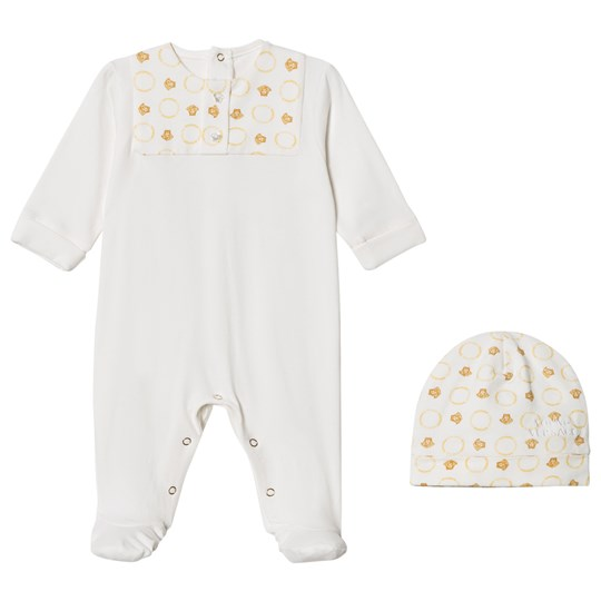Versace White/Gold Footed Baby Body and Beanie Gift Box 3469