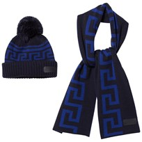 Young Versace Navy/Blue Branded Knit Hat and Scarf Set 3319