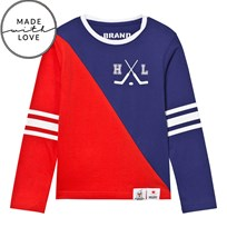 The BRAND Make A Save Diagonal Tee Red/Blue Grøn