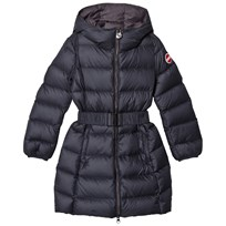 colmar Navy Empire Long Down Coat with Hood and Belt 68 Navy and Halley