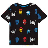 Fabric Flavours Black Marvel Heroes Repeat Print T-Shirt Black