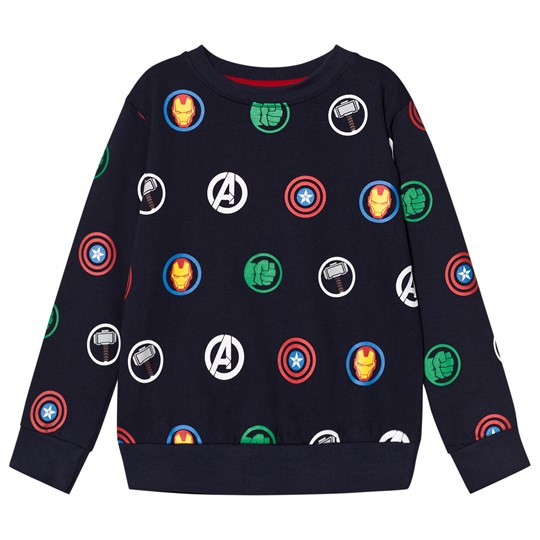 Fabric Flavours Navy Avengers Multi Logo Repeat Sweatshirt Navy