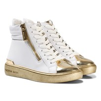 Michael Kors White and Gold Zia Ivy Blu Zip Hi Tops White Gold