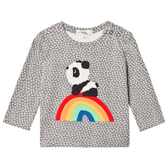 The Bonnie Mob Rainbow Panda Applique Tee Hash Tag Grey Hash Tag Print Grey