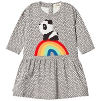 The Bonnie Mob Rainbow Panda Applique Dress Hash Tag Print Grey Hash Tag Print Grey