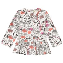 The Bonnie Mob Long Sleeve A Line Frill Top, Aop Print Panda Print Pinks Panda Print Pinks