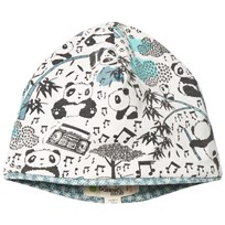The Bonnie Mob Reversible Baby Beanie Hat, Aop Print Panda Print Blues Panda Print Blues
