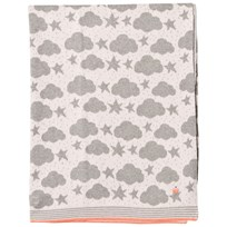 The Bonnie Mob Stars and Clouds Jacquard Baby Blanket Pale Pink Pale Pink