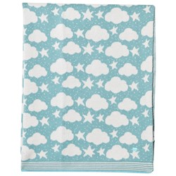The Bonnie Mob Stars and Clouds Jacquard Baby Blanket Pale Teal
