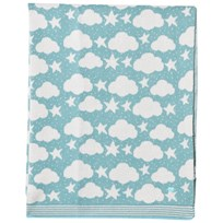 The Bonnie Mob Stars And Clouds Jaquard Baby Blanket Pale Teal Pale Teal