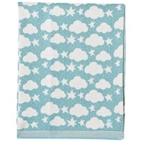 The Bonnie Mob Stars and Clouds Jacquard Baby Blanket Pale Teal Pale Teal