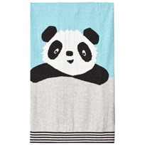 The Bonnie Mob Panda Intarsia Baby Blanket Pale Blue Pale Blues
