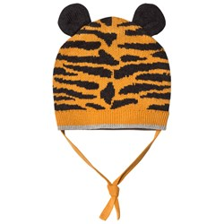 The Bonnie Mob Tiger Stripe Knitted Hat with Ears Honey