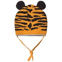 The Bonnie Mob Tiger Stripe Jaquard Hat With Ears Honey Honey