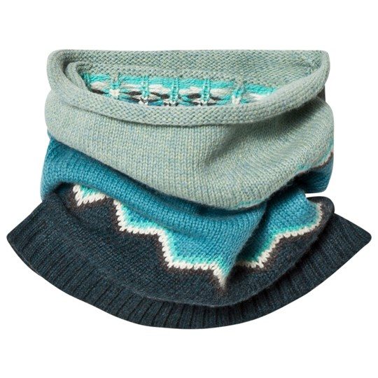 The Bonnie Mob Chunky Knitted Zig Zag Snood Blue Blues