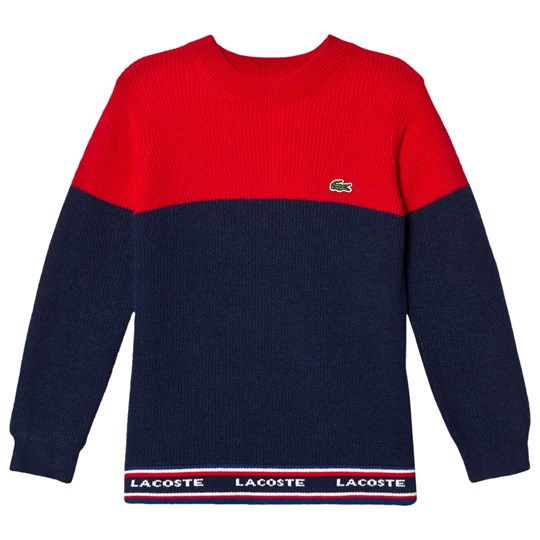 Lacoste Red and Navy Colour Block Branded Knit Jumper TGM