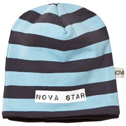Nova Star Beanie Fleece Lined Striped Blue