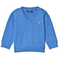 Gant Blue Cotton V Neck Jumper 484