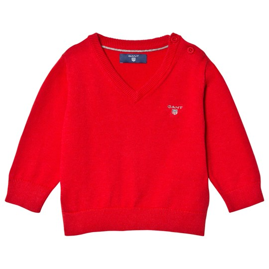 GANT Red Cotton V Neck Jumper 688